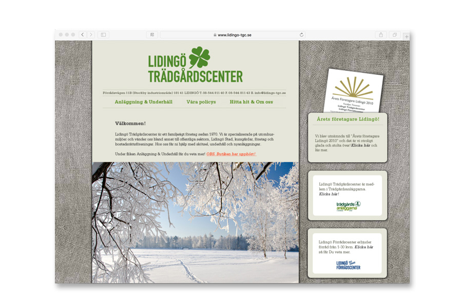 designing, building and handling website / www.lidingo-tgc.se